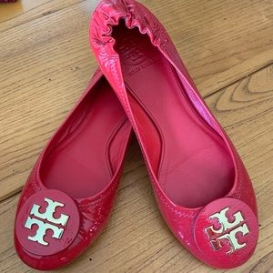 Tory Burch Reva Red Patent Leather Flats